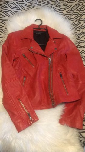 Stradivarius Faux Leather Jacket brick red-dark red