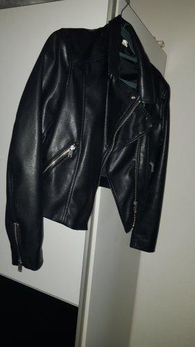 H&M Veste en cuir noir