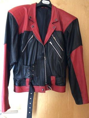 Giacca da motociclista rosso-nero Pelle