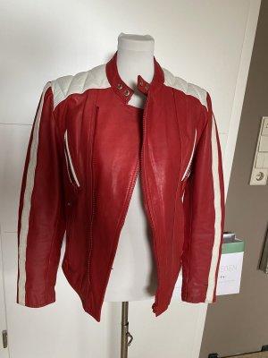 0039 Italy Skórzana kurtka ciemnoczerwony-biały Skóra