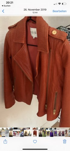 Reiss Leather Jacket bright red