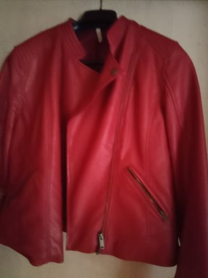 100% Fashion Veste en cuir synthétique rouge