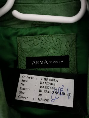 Arma Women Veste en cuir vert gazon