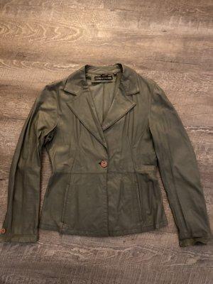 costume inational Leather Blazer green grey