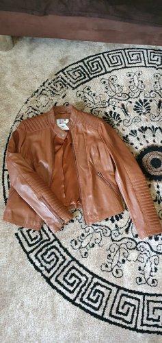 AJC Skórzana kurtka jasnobrązowy
