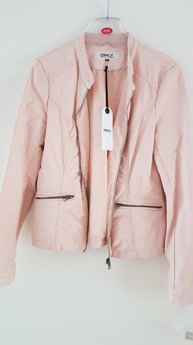 Lederjacke aus weichem Kunstleder in Nude Rose Gr. 38