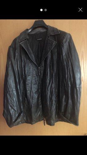 Samoon Leather Jacket grey-black