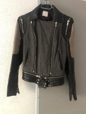 Alba Moda Veste en cuir noir-gris clair