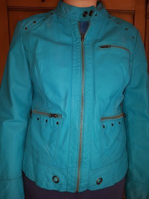 Best Connections Leather Jacket turquoise leather