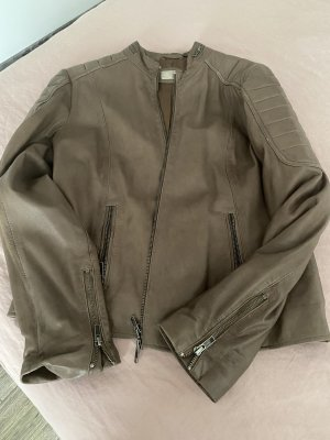 Breuninger Leather Jacket grey brown
