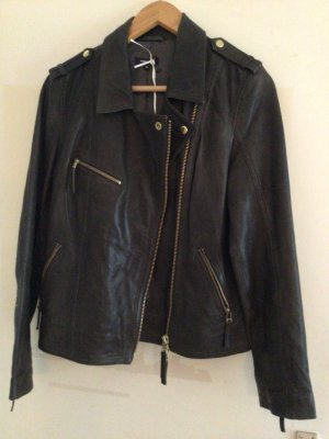 More & More Biker Jacket grey brown leather