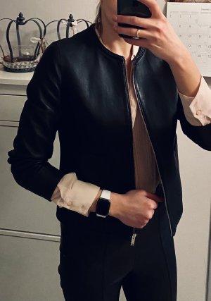Massimo Dutti Leren blazer zwart