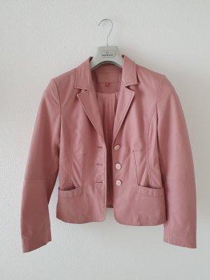 Lederjacke Blazer rosa altrosa m medium Revers Knöpfe weich gefüttert