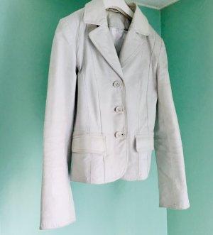 Lederjacke, Creme/Weiße Lederjacke, Leather Blazer, Lederblazer