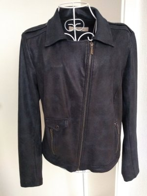 One Two Luxzuz Faux Leather Jacket dark blue