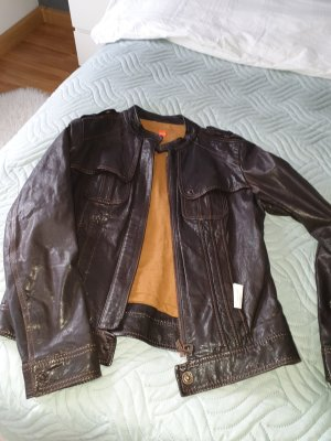 Boss Orange Leather Jacket brown-dark brown