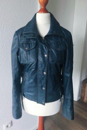 Lederjacke Echtleder blau Vintage used Look