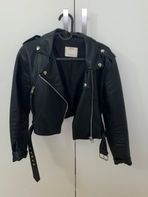 Bershka Biker Vest black leather