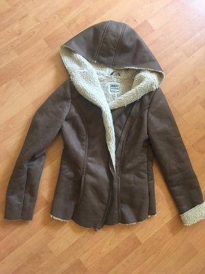 Object Futrzana kurtka w kolorze białej wełny-brązowy