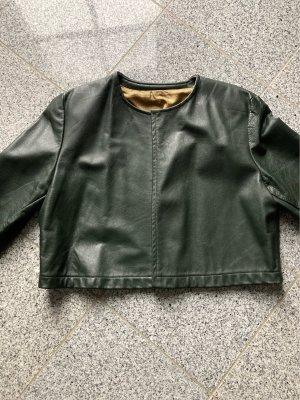 Handmade Leather Jacket dark green