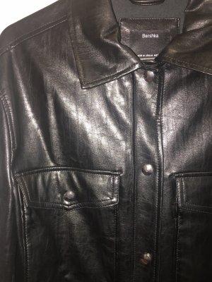 Bershka Leren shirt zwart