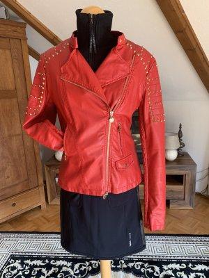 Twin-Set Simona Barbieri Veste en cuir rouge
