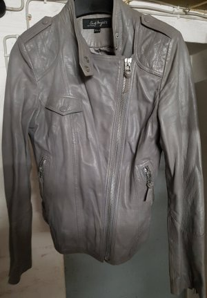 C&A Leather Jacket grey-taupe leather