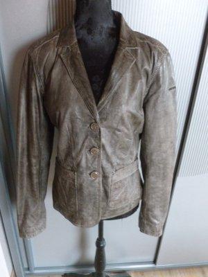 Milestone Leather Blazer grey brown