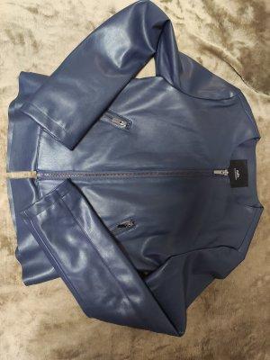 Zara Chaqueta de cuero azul oscuro