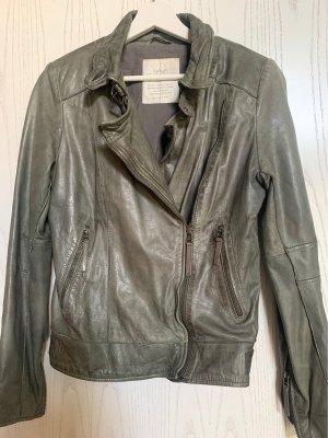Yaya Leather Jacket khaki