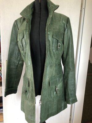 Carrie Hoxton Cappotto in pelle verde bosco Pelle