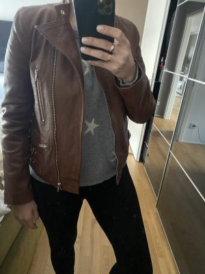 Each & Other Leather Jacket brown-light brown leather