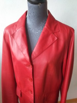 David Moore Leather Jacket red-dark red