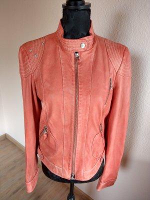 Crisca Leather Jacket salmon