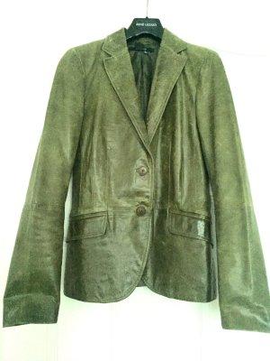 Zara Basic Blazer en cuir vert olive cuir