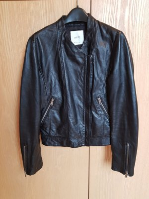 Mango Leather Jacket black leather