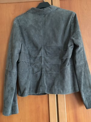 Marc Cain Leather Blazer slate-gray leather