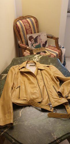 Marc O'Polo Veste en cuir jaune foncé cuir