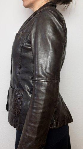 Marc O'Polo Veste en cuir brun noir cuir