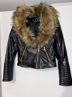 Balmain for H&M Giacca in ecopelle nero-marrone chiaro