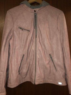 Lederjacke mit Kaputze in rosé