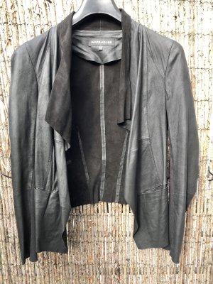Lederjacke mit Schalkragen, Gr. 38, schwarz