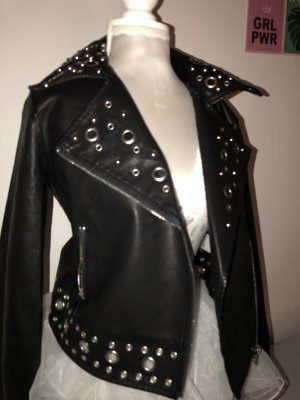 Leather Jacket black-silver-colored