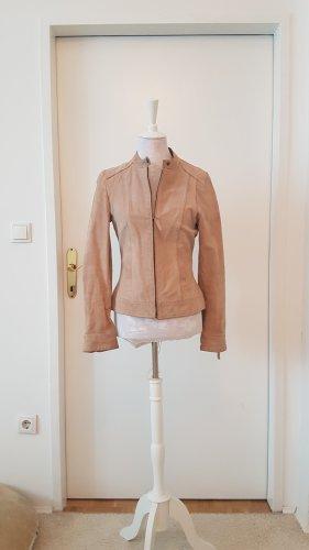 Lederjacke mit Zipp und seitlichen Eingrifftaschen
