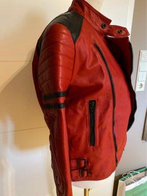 0039 Italy Skórzana kurtka czarny-ciemnoczerwony Skóra