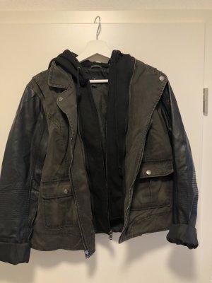 American Eagle Outfitters Leren jack zwart-khaki