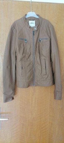 Only Chaqueta de cuero de imitación marrón claro-marrón