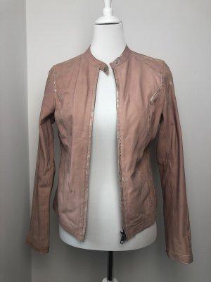 Lederjacke rosa und silber Größe M