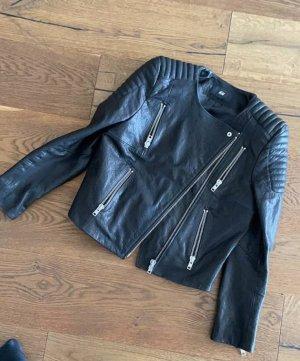Lederjacke schwarz Gr. 36 - schräger Zipp