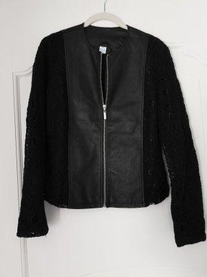 Lederjacke schwarz L 40 Spitze, leichte Übergangsjacke  Materialmix